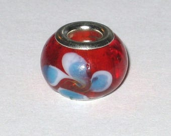 A red Lampwork European bead leaf blue