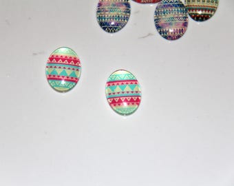 The cabochon oval 18x13mm 10 ethnic illustration pink, blue/green