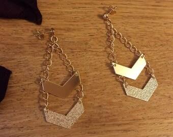 Kit / box DIY gold sequin chevron earrings