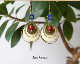 Timeless short donut earrings enamel, coral bead and sequin