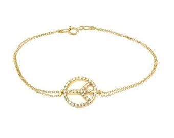 Peace Bracelet, 14K - 18K Gold bracelet studded with diamonds
