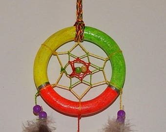 Tri-color dream catcher, neon colors