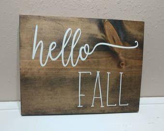 Hello Fall wooden sign
