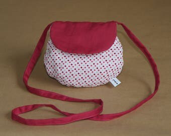 My first girl bag, mini bag in hand - cotton with dots and hot pink