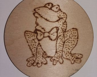 Fridge Magnet .Pyrography on beech wood.