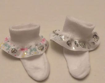 Infant ruffle socks, sparkle ruffle socks, church socks, baby ruffle socks, diamond socks, usdr ruffle socks