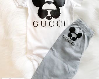Two Piece Gucci Mickey Mouse with aviatior sunglasses Baby Set | Designer Inspired Outfit | Onesie & Pants|