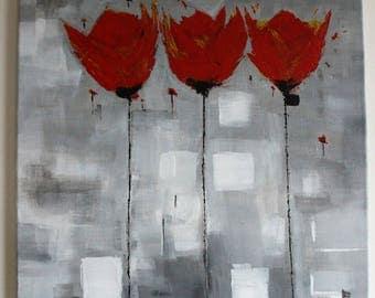 -Tulips - Figurative painting 50 x 61 cm