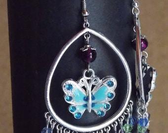 Blue, silver and purple earrings - Butterfly