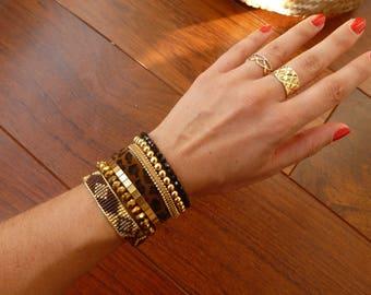 Multi strand Cuff Bracelet black and gold