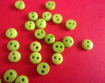 Set of 6 mini plastic 2 hole buttons - 6mm