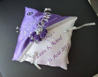 wedding ring cushion purple plum and silver