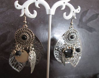 black and silver charms and earrings prints