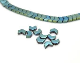 10 blue green Chevron 6x5mm Hematite beads