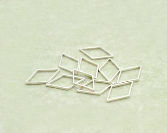 10 charms clear silver diamond 16x9mm metal connectors
