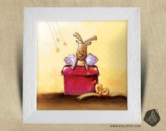 Frame square 25 x 25 Christmas gift with gift baby nursery kids baby reindeer Illustration