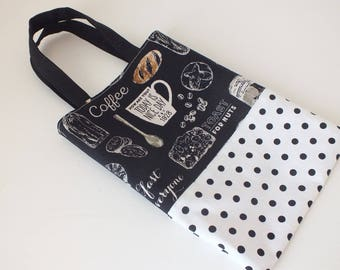 """Mini tote bag / tote bag reversible linen and cotton patterned """"bakery""""."""