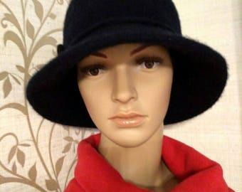 Felted hat, wool hat, black blue hat, women hat