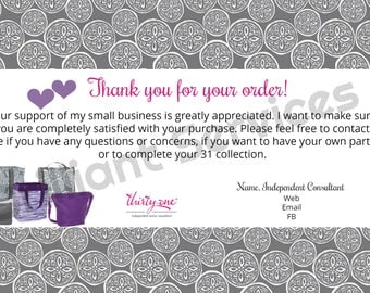 Thirty-One Gifts Order Thank You - Digital File Postcard