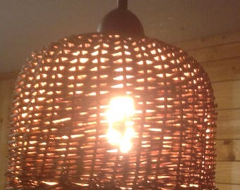 Dark Brown Hand Woven Rattan Basket Light