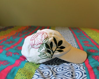 Hand embroidered Peony Baseball Hat