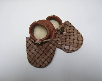 Beige Plaid and red leather slippers