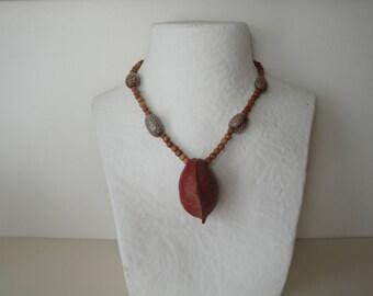 Necklace large exotic fruit seed