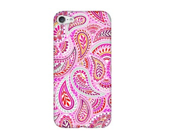 Case for iPhone 4 4s 5 5s 5SE, 5 c, 6, 6 plus, 6s, 6, 7, 7 + pink paisley