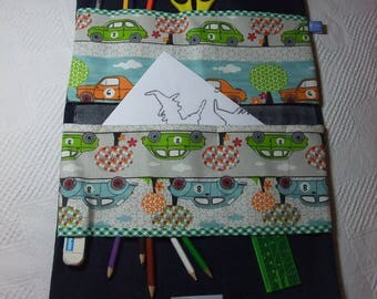 Pouch, great Kit, school bag for storing coloring in jean fabric material and cotton printed cars