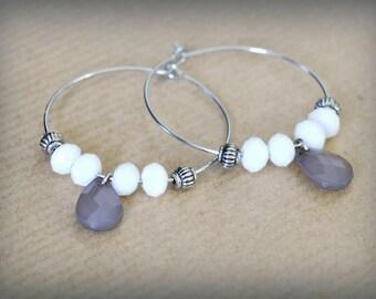 Hoop earrings silver drop faceted beads