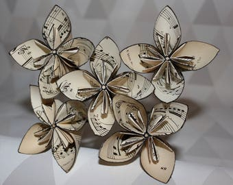 Black music paper flowers