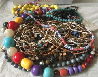 Z 9, Vintage to now mixed beaded necklaces, long, short, medium necklaces. Wearable