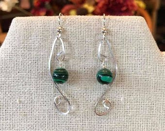 Hammered Solid Sterling Silver/Genuine Malachite Stone Earrings