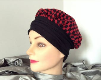 Jersey houndstooth black and Red beret Hat