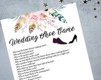 Wedding Shoe Reception Game, Printable Game, Wedding Shoe Game Questions, Wedding Reception Game, Boho Floral Wedding Game