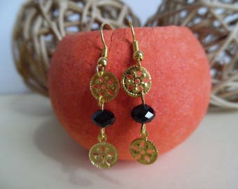 black and gold pierced earrings