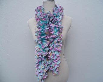 Scarf knit turquoise wool fabric with pink flowers