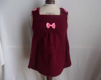 Burgundy knit dress size 3 months