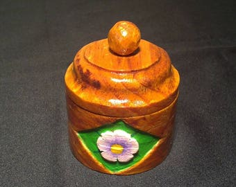 Floral, solid, fully handcrafted wooden jewelry box.