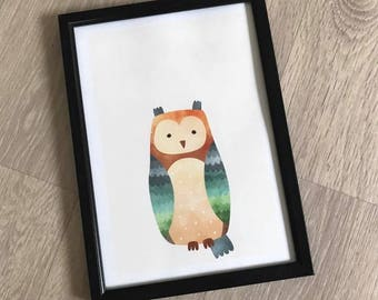 A4 Woodland Nursery Print - Owl