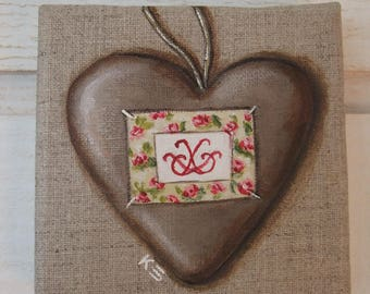 Painting Trompe L'Oeil Taupe & red heart (No. 7)