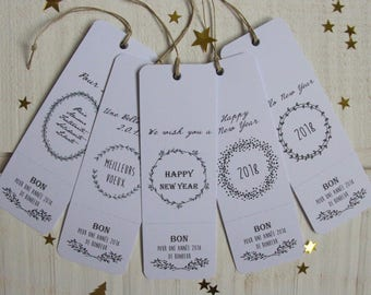 """Set of 5 greeting cards """"Good 2018 of happiness"""" (white)"""