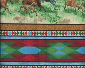 HORSE fabric: Mustang in Meadow (coupon 110 x 55 cm) 100% Cotton Patch