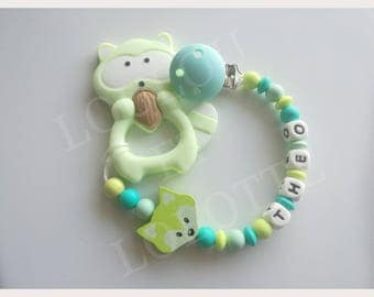 Soother/pacifier personalized silicone + teether/model Theo ring