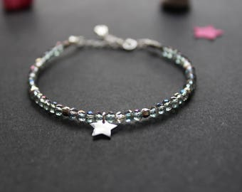 Very fine bracelet in Silver 925/1000 and Crystal beads