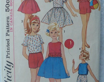 Girl's, Children's Skirt, Top and Shorts Pattern, Vintage Simplicity 5469, Size 10
