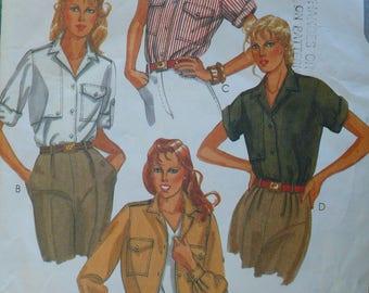 Women's Shirt, Blouse Pattern, Vintage McCall's 7904, Size 12