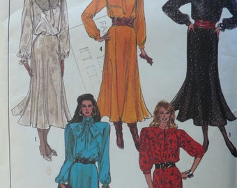 Women's, Petite Dress Pattern, Vintage Simplicity 8174, Size 10 - 12, 1980s