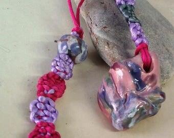 Clay glazed finishes macramé pendant