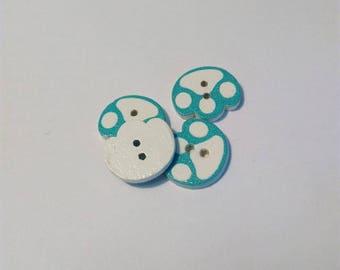 "Set 4 ""leg"" turquoise blue wooden buttons"